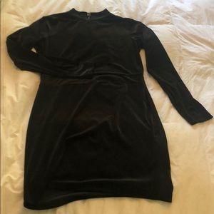 H&M velvet mock neck mini dress open back 14
